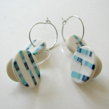 Coin - Blue -pierced earrings