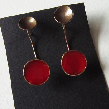Pierced earrings -brass, enamel #009-3