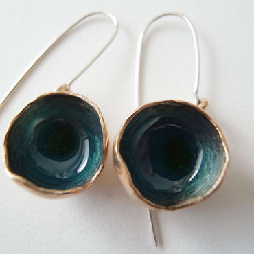 Pierced earrings L blue -bronze, enamel #E09