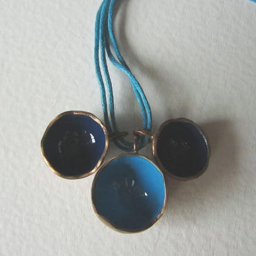 Necklace ciotole blue -bronze, enamel #011-2