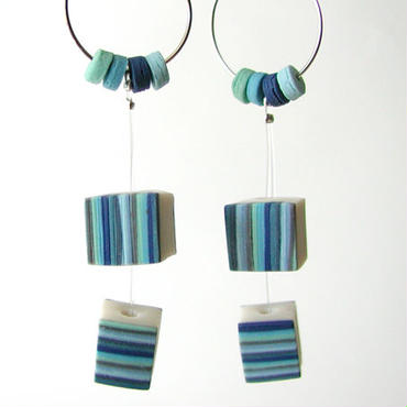 Cube -Blue pierced earrings