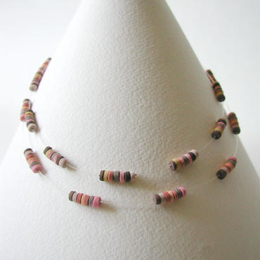 Mini-B Double - Pink double short necklace