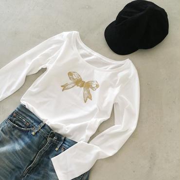 リボンの長袖Tシャツ(ゴールド)