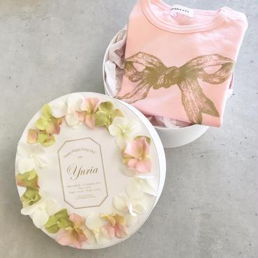 出産祝 リボンTシャツ フラワーボックス入り Aタイプ(お誕生日祝)