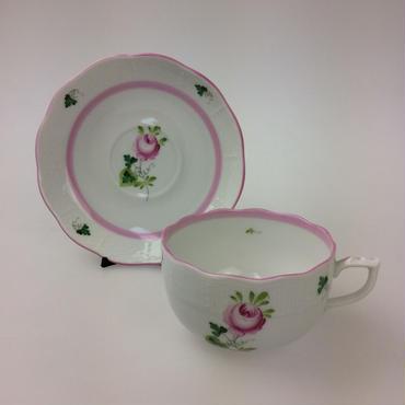 【ヘレンド】VRHX4 ウィーンのバラ ピンク ティーカップ&ソーサー724