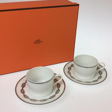 【エルメス】シェーヌダンクル  プラチナ  ティーカップ&ソーサー  ペア