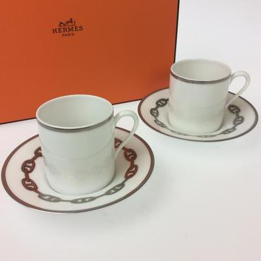 【エルメス】シェーヌダンクル  プラチナ  コーヒーカップ&ソーサー  ペア