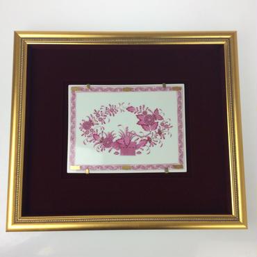 【ヘレンド】インドの華 ピンク 額装陶画 FPSP689