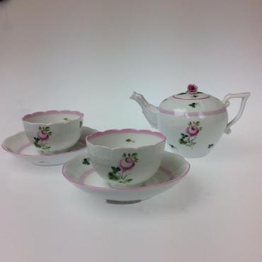 【ヘレンド】ウィーンのバラ ピンク ティーポット・ジャパニーズカップ 3点セット