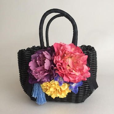 Flower Bag Black  M     【modern】タッセル付き