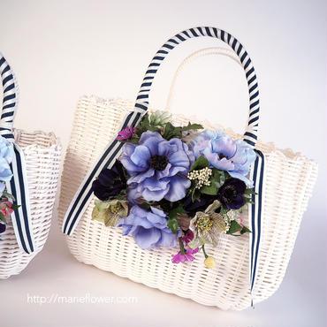 Flower Bag White L     【Anemone Blue 】