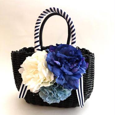 Flower Bag Black M      ~marine blue〜