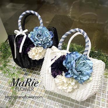 Flower Bag White/Black    M    【デニムレース 】