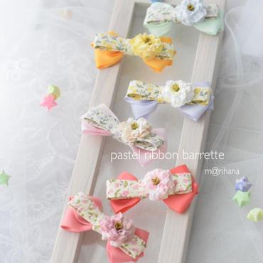 小花のリボンバレッタ