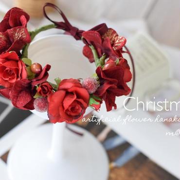クリスマス(レッド)花かんむり・ワンちゃん用