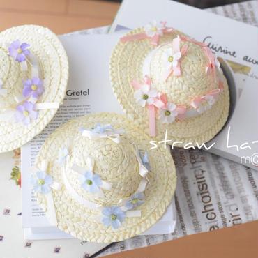 【再販】リボン&小花アキレアの麦わら帽子