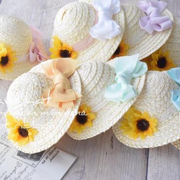 【再販】sweetリボン麦わら帽子・ひまわり