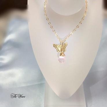 <14kgf>ローズクォーツとバタフライのネックレス pink x gold