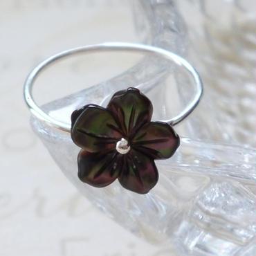 プルメリアのリング - black silver