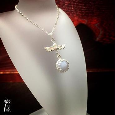 エンジェルBlueレースアゲ―トのネックレス -silver-