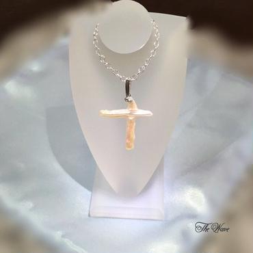 クロスパールのネックレス - silver -