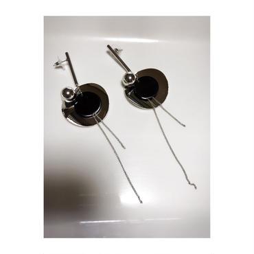 bar  round  metal  pierce  ブラック×シルバー