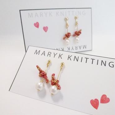 刺繍糸ロープとコットンパール(Red) イヤリング/ピアス *053