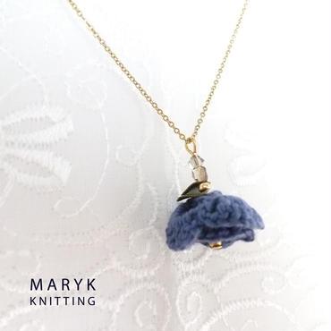 紺色の花 38cmチェーンネックレス *008