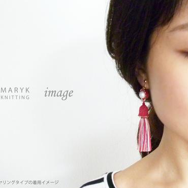 タッセルドレスを着たパール(赤) イヤリング/ピアス *157 送料込