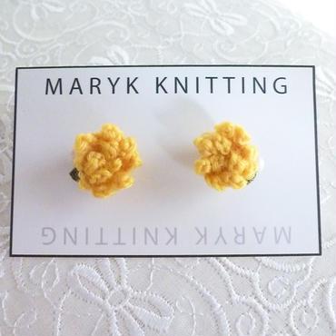 たんぽぽピアス hand knit *016