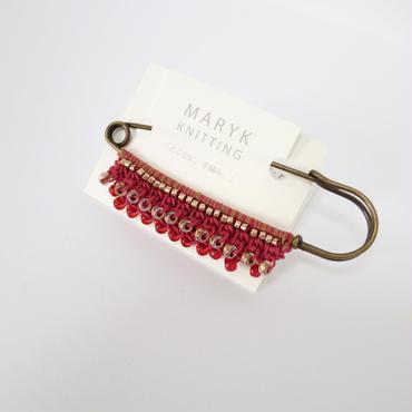 Frill! Beads! かぶとピンブローチ(赤) *155 送料込