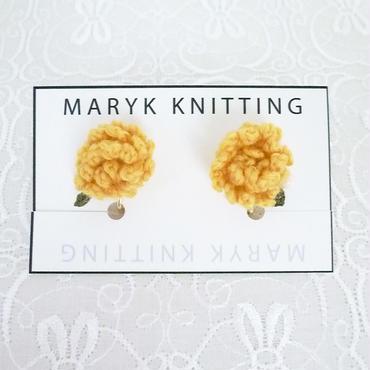たんぽぽイヤリング hand knit *005