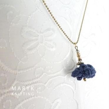 紺色の花 38cmボールチェーンネックレス *007