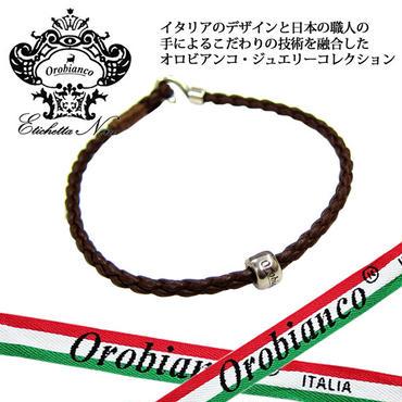 日本製 Orobianco オロビアンコ 2重巻き レザー 編みこみ ブレスレット アクセサリー (362)