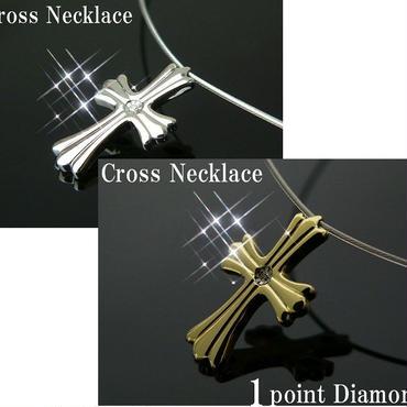 ダイヤモンド1ポイント搭載 ゲルマニウム4石 クロスチタンネックレス カラー選択