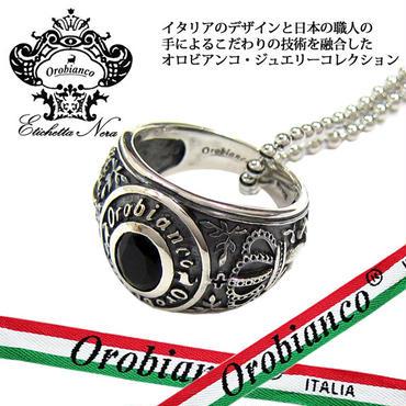 日本製 Orobianco オロビアンコ オニキス リング ネックレス 指輪 #21 アクセサリー (366)
