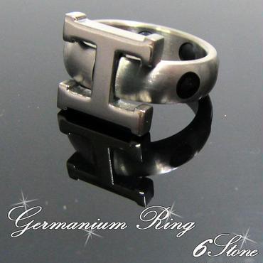6石 ゲルマニウム Hマーク 指輪 リング 健康 アクセサリー 男女兼用 号数選択 BK(21)(22)(23)
