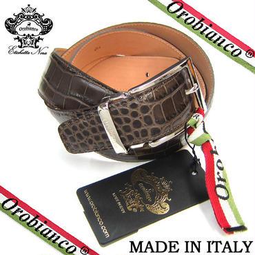 Orobianco オロビアンコ ベルト クロコ型押し 牛革 メンズ カット可能 紳士 ビジネス ダークブラウン (318)