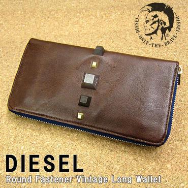 DIESEL ディーゼル ラウンドファスナー ヴィンテージ 長財布 X01584 H3803 茶