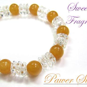 天然石 パワーストーン レディース ブレスレット 水晶×オレンジカルサイト(11)