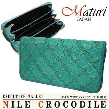 Maturi マトゥーリ 最高級 クロコダイル 長財布 ラウンドファスナー MR-051 TBL