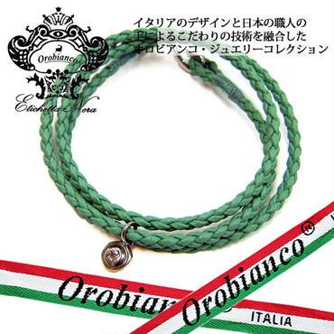 日本製 Orobianco オロビアンコ ブレスレット レザー 編み込み アクセサリー (425)