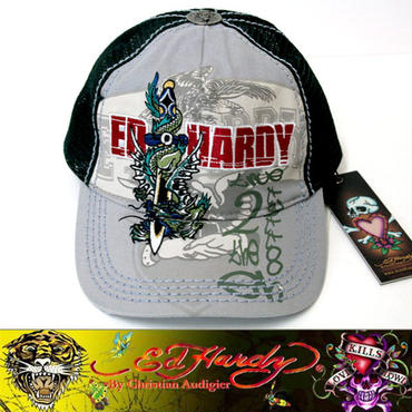 Ed Hardy エドハーディー CEP CAP キャップ DRAGON&SWORDS グレー×ダークグリーン (35)