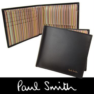 Paul Smith ポールスミス メンズ 牛革 カーフレザー 二つ折り財布 小銭入れ付き 黒×マルチストライプ (140)