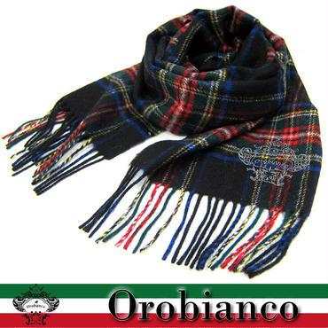 Orobianco オロビアンコ マフラー タータンチェック柄 ロゴ刺繍入り BK (170)