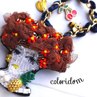 夏の果実とレディ  fruit lady | ビーズチャーム&ブローチ hand made beads charm&brooch