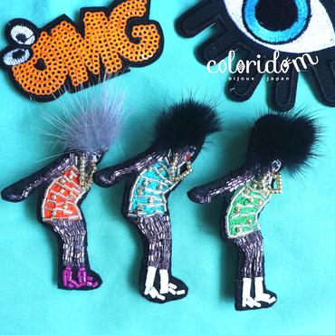 ボンバーヘッド! Bomber head! | ビーズブローチ hand made beads brooch