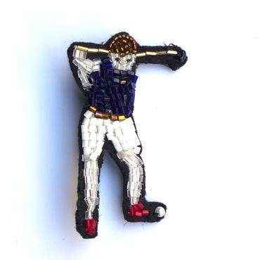 ゴルファー(男)  golfer man | ビーズピンバッジ hand made beads pin