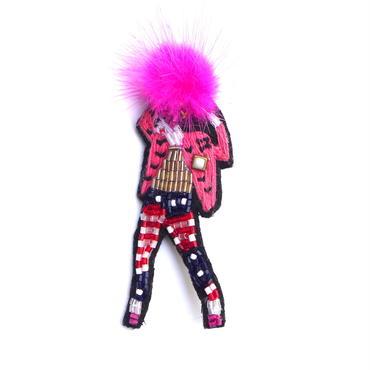 アメリカンロックガール American rock 'n' girl  | ビーズブローチ hand made beads brooch