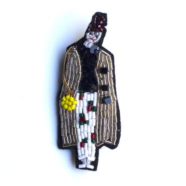 ラッキーイエロー lucky yellow  | ビーズブローチ hand made beads brooch.